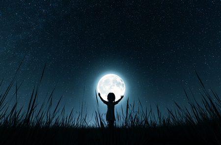 Girl holding the moon in starry night,3d rendering Reklamní fotografie