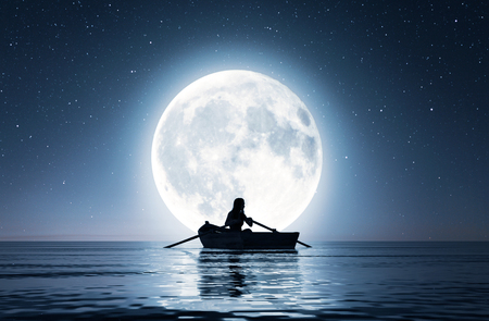 Girl on row boat on the sea under the moonlight,3d rendering Stok Fotoğraf