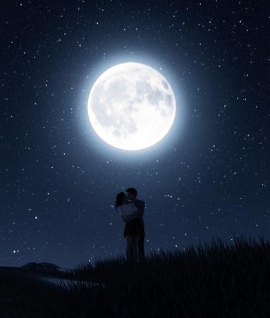Parejas de amor bajo la luz de la luna, render 3d
