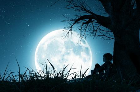 Chica solitaria sentada sola debajo del árbol y mirando a la luna, representación 3d Foto de archivo