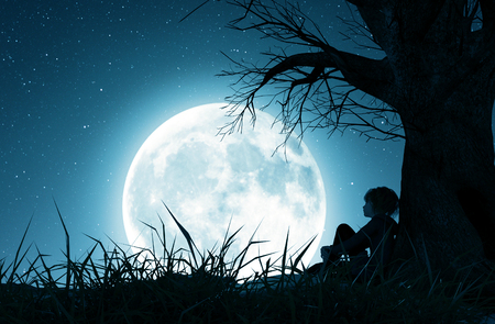 Lonely girl sitting alone under the tree and looking to the moon,3d rendering Stok Fotoğraf