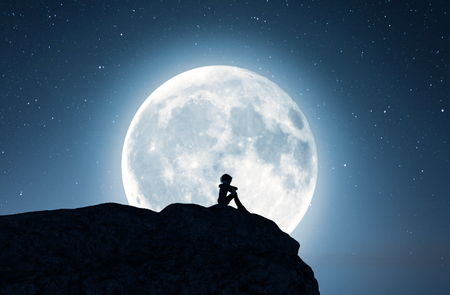Lonely girl sitting alone on the cliff and looking to the moon,3d rendering Stok Fotoğraf