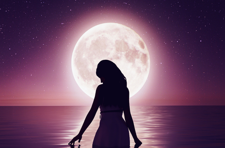 Girl walking on the water under the moonlight,3d rendering 写真素材