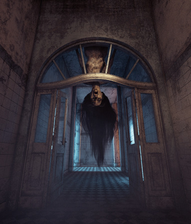 Undeads house,Ghost woman who will never go anywhere else but her home.3d illustration
