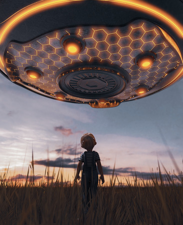 Boy looking at an UFO saucer,3d rendering 写真素材