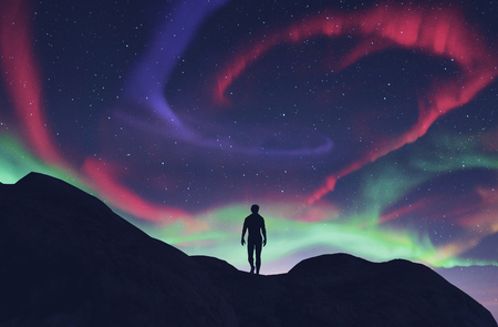 Man walking to the southern lights,3d rendering Stok Fotoğraf - 120695336
