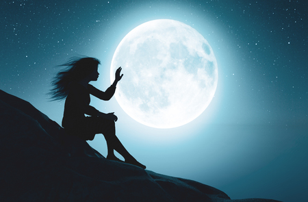 Alone girl touching the moon in starry night,3d rendering