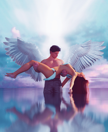 Till death do us part,3d illustration of an Angels in heaven land,Mixed media for book illustration or book cover