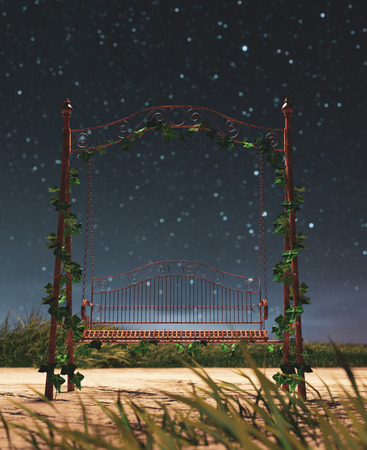 Vintage swing at the park in starry night,3d rendering 写真素材