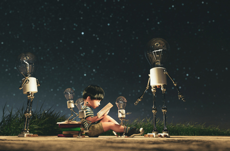 Light bulb robot giving a light to the boy who reading a book in starry night conceptual background,3d rendering Stock Photo