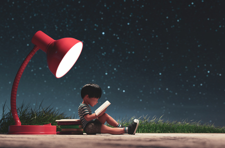The boy reading a book in starry night conceptual background,3d rendering