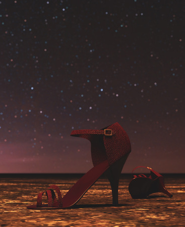 High heels shoes were abandoned at night,3d rendering conceptual background 写真素材 - 120695456