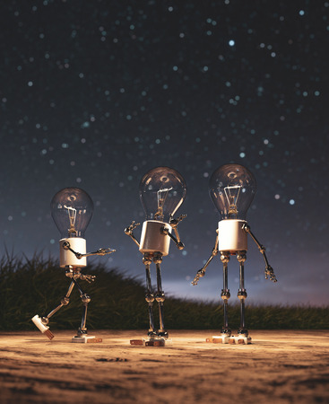 Light bulb robots giving a light in starry night conceptual background 写真素材 - 120695458