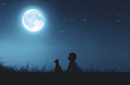 Girl with her dog sitting on grass field looking to the moon,3d rendering