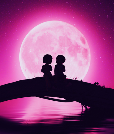 Young s love,Boy and Girl sitting on a tree trunk under the moon light,3d rendering