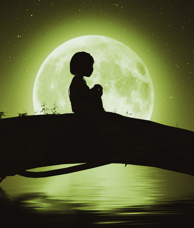 Girl sitting alone on a tree trunk under the moon light,3d rendering