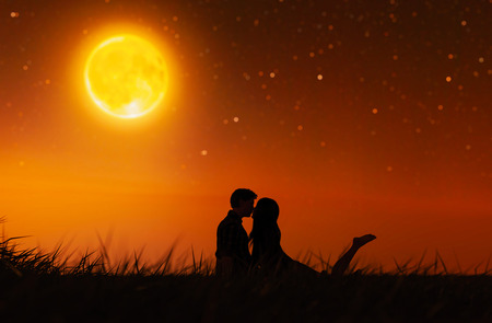 Love couples under the moonlight,3d rendering