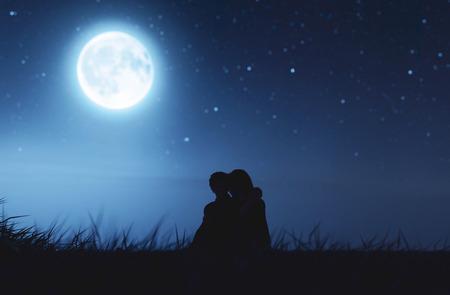 Couples d'amour sous le clair de lune, rendu 3d
