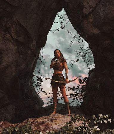 Barbarian female warrior,3d rendering