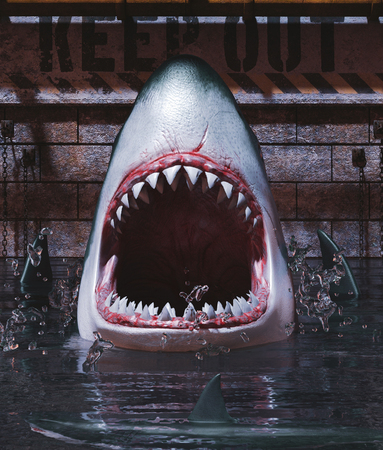 Sharks tank please keep out,3d rendering