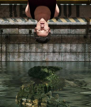Pray to be prey, Man being tied up in  Alligators tank,3d rendering