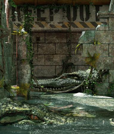 Alligators tank please keep out,3d rendering