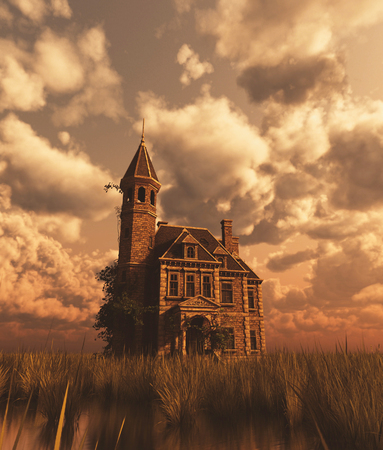 Haunted manor in grass field,3d rendering Imagens