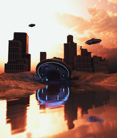 Ufo saucer crash in abandoned city,3d rendering