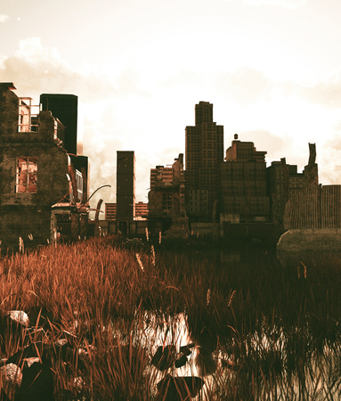 Scene of abandoned city,3d rendering