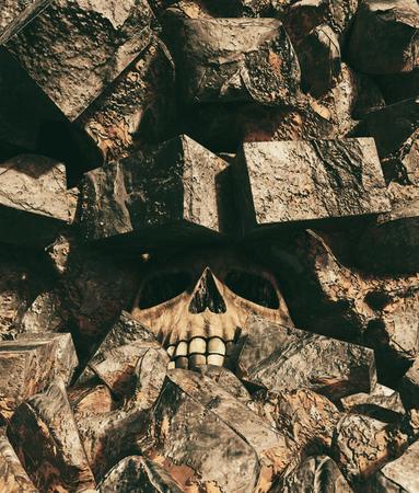 Human skull under rubble,3d rendering