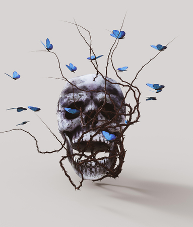 Human skull with bramble and butterfly,3d rendering