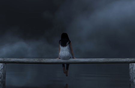 Woman sitting on wooden fence in the dark,3d rendering