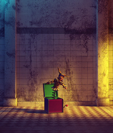 Toy in haunted hallway,3d illustration for book cover