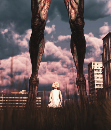 I see a monster,Little girl walking with a monster in abandoned city,3d rendering Banco de Imagens