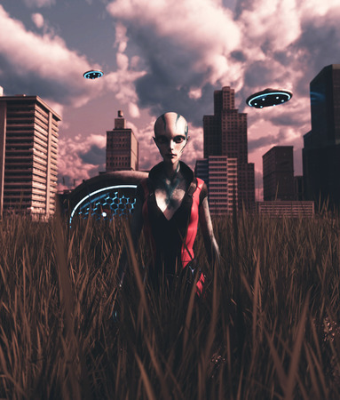 Alien girl visiting an abandoned city after the world is destroyed by something,3d rendering