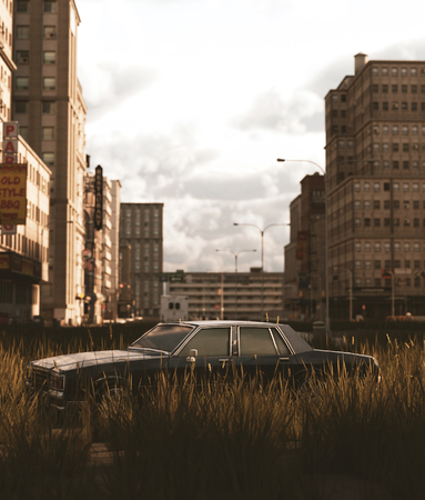 An old car parked on the road that filled with grass field in abandoned city,3d rendering Banco de Imagens