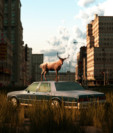 Deer on the roof of an old car parked on the road that filled with grass field in abandoned city,3d rendering Banco de Imagens
