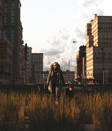 Backpacker walking with his dog in abandoned city,3d rendering