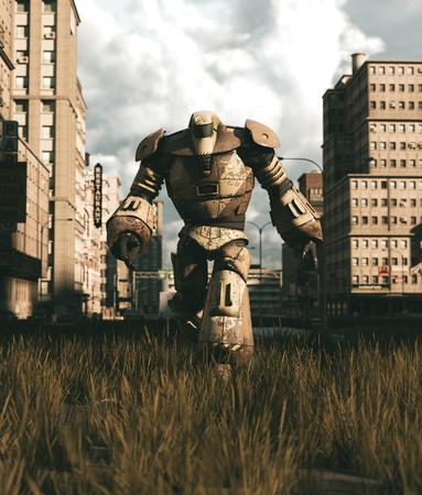 An old Robot walking in abandoned city,3d rendering Stok Fotoğraf