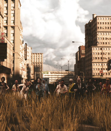 Group of Zombies in abandoned city,3d rendering Stok Fotoğraf