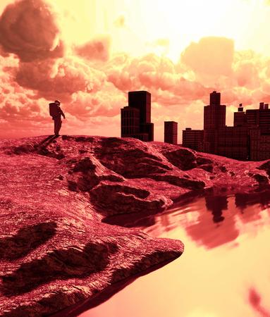 Astronaut in abandoned city,3d rendering Banco de Imagens - 125584925