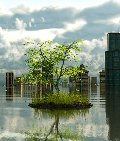 Flooding cityscape with the Last tree on earth,3d rendering Stok Fotoğraf