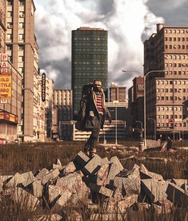 Backpacker standing on rubble block in abandoned city,3d rendering Stok Fotoğraf