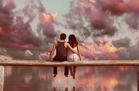 Couple sitting on wooden fence with colorful sky background,3d rendering Stok Fotoğraf