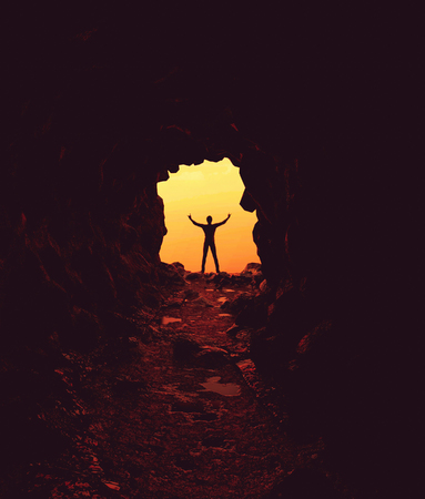 Man at the entrance of the cave,3d illustration Stok Fotoğraf