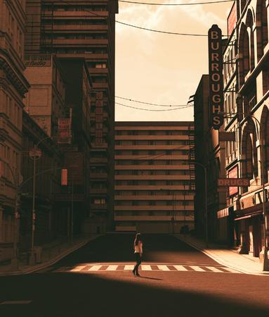 Girl walking alone in abandoned city,3d rendering Stok Fotoğraf