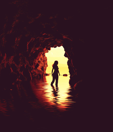 Woman walking to the entrance of the cave,3d illustration