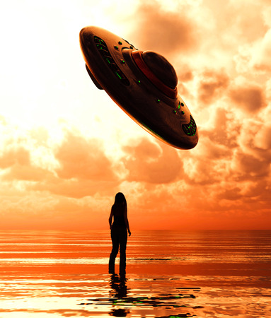 Girl standing in the sea looking to a ufo saucer,3d illustration
