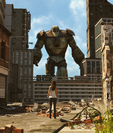 Girl looking at a Robot in abandoned city,3d rendering
