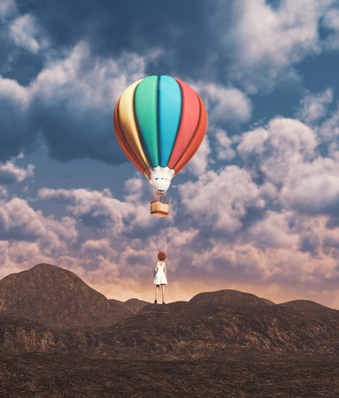 Girl looking to hot air balloon,3d illustration